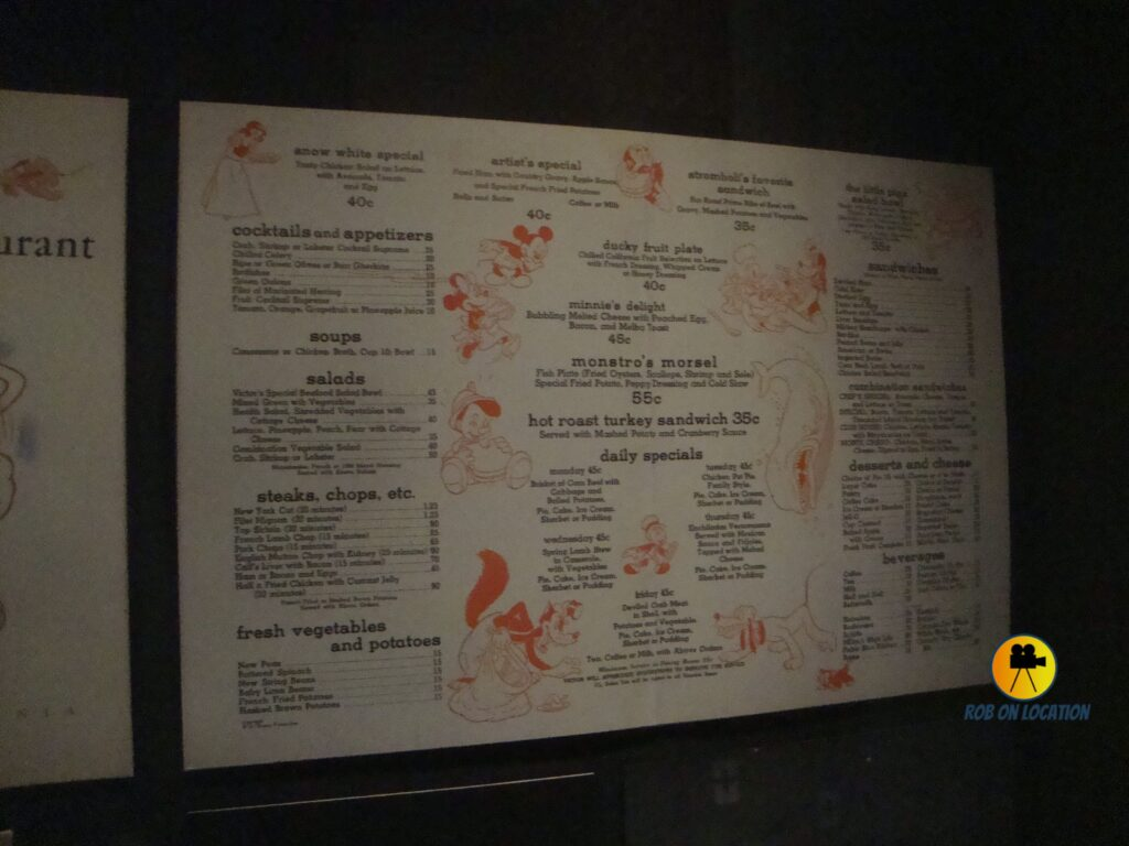 Walt Disney's Studio Restaurant menu
