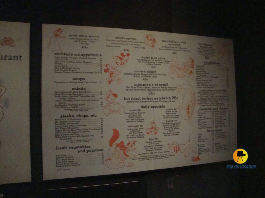 Walt Disney's Studio Restaurant menu